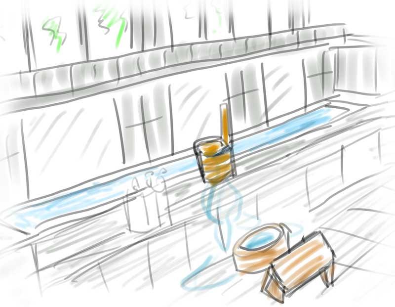 シャワーや蛇口はなく手桶で温泉を汲む